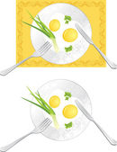 Fried eggs with green onion and parsley Vector illustration