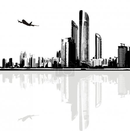 Illustration for Black and white panorama of city buildings. Vector illustration - Royalty Free Image