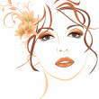 Portrait of beautiful woman with lilies in hair. V...