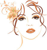 Portrait of beautiful woman with lilies in hair Vector illustration