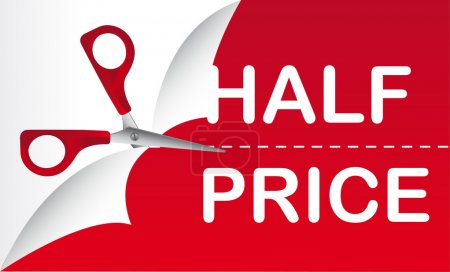 Illustration for Half price with red scissor, background. vector illustration - Royalty Free Image