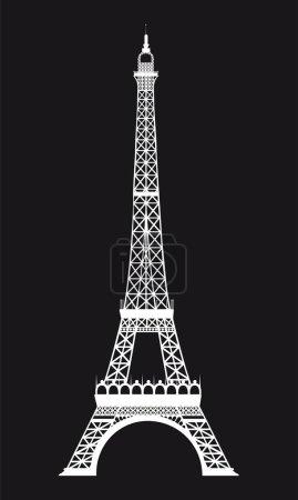 Illustration for White eiffel tower over black background. vector illustration - Royalty Free Image