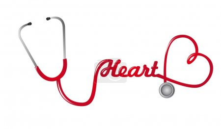 Illustration for Red stethoscope with heart shape vector background - Royalty Free Image