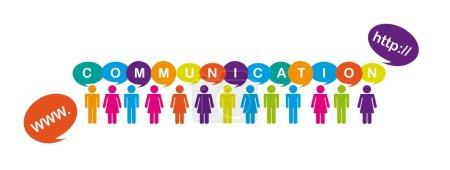 Illustration pour Hommes et femmes signe avec des bulles de pensée, communication. Vector - image libre de droit