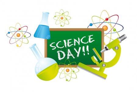 Illustration pour Texte de la journée de la science sur tableau avec des éléments scientifiques. vecteur - image libre de droit
