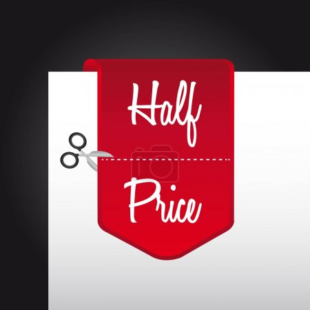 Illustration for Red half price tag over paper. vector illustration - Royalty Free Image