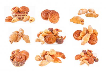 Photo for Bakery foodstuffs set on a white background - Royalty Free Image