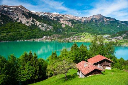 Photo pour Panorama du lac de brienz avec la ville de brienz en arrière-plan, Suisse - image libre de droit