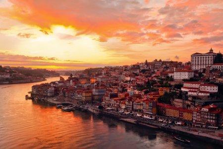 Porto at river Duoro, sunset