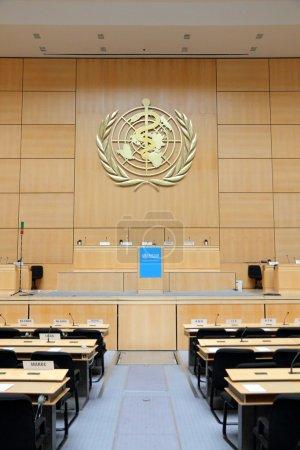 Photo pour Porte-parole de la Salle de l'Assemblée, la plus grande salle du Palais des Nations des Nations Unies à Genève, Suisse - image libre de droit