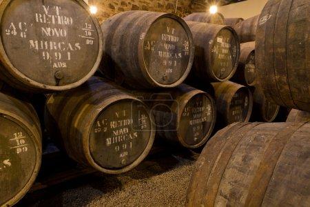 Port wine ages in barrels in cellar