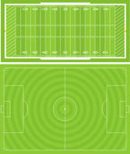 Illustration of Football (Soccer) and American Football fields Accurately proportioned