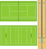 Illustration of Tennis court Rugby field and Ten Pin Bowling lanes Accurately proportioned