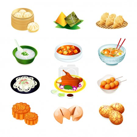 Colorful realistic icons of chinese popular food...