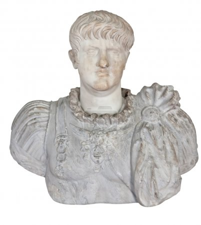 Ancient statue of the roman emperor Nero isolated on white