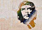Che Guevara painting on a wall in Havana