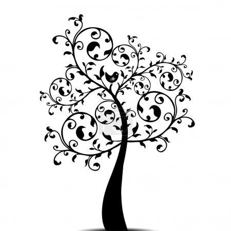 Illustration pour Bel arbre d'art isolé sur fond blanc - image libre de droit