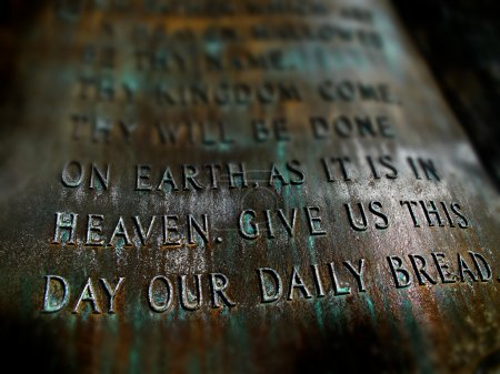 Photo for Sculpture of the Lord's Prayer with scriptures from Bible - Royalty Free Image