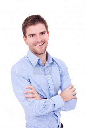 Photo for Handsome man casually posing with arms crossed on white background - Royalty Free Image