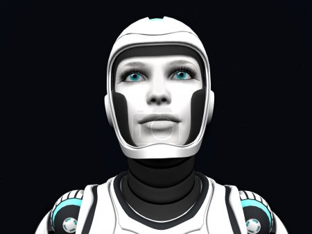 Android woman gazing.