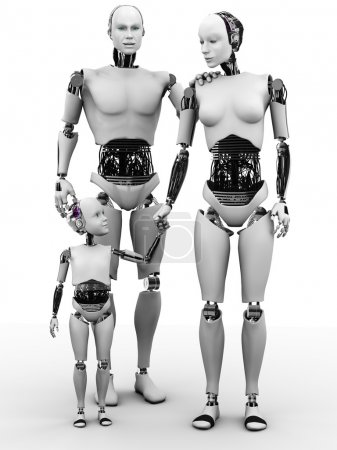 Photo for A robot family consisting of a man, woman and child. White background. - Royalty Free Image
