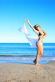 žena relaxaci na pláži