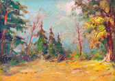 Oil panting showing wild colorful forest on the beautiful autumn day