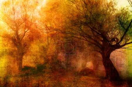 Landscape painting showing creepy forest on dark autumn day