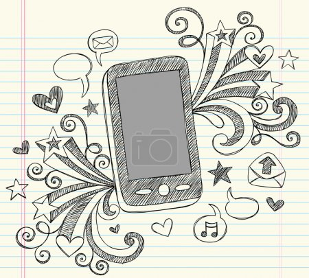 Cell Phone Mobile PDA Sketchy Notebook Doodles Vector Illustration