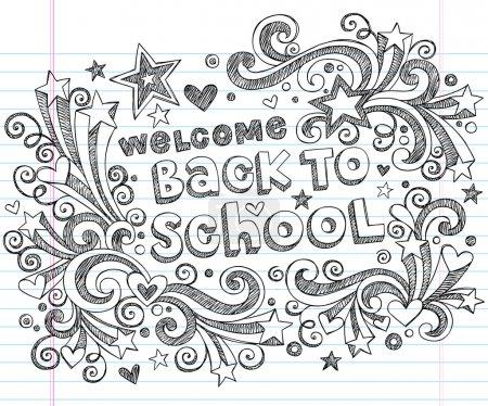 Back to School Sketchy Doodles Vector Design Elements