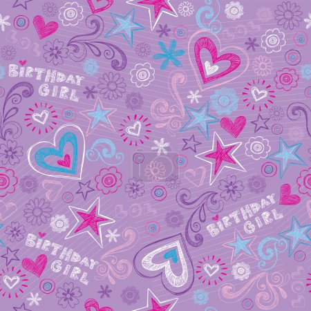 Illustration for Happy Birthday Seamless Pattern Hearts and Stars -Back to School Style Sketchy Notebook Doodle Pattern- Hand-Drawn Tileable Vector Illustration Background - Royalty Free Image