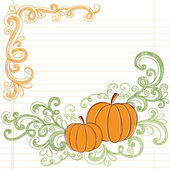 Hand-Drawn Halloween Pumpkins and Vines Back to School Style Sketchy Doodles Design Elements on Notebook Paper- Vector Illustration