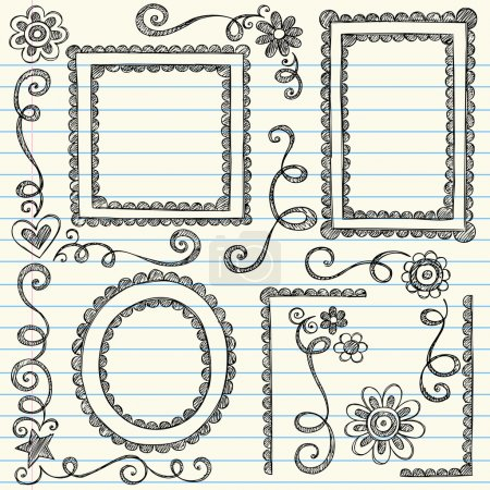 Photo for Hand-Drawn Scalloped Doodle Frames and Edge Borders- Back to School Style Sketchy Doodles Design Elements on Notebook Paper- Vector Illustration. - Royalty Free Image