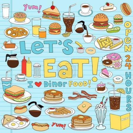 Photo pour Diner Food savoureux dessiné à la main Fast Food Notebook éléments de conception de caniche sur fond de papier Sketchbook doublé- Illustration vectorielle - image libre de droit