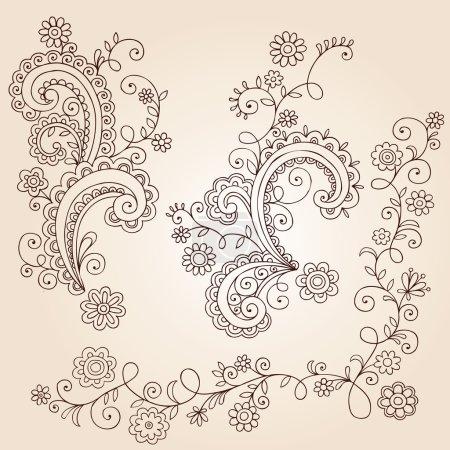 Photo pour Vignes, les feuilles et les fleurs dessinées à la main Résumé des éléments de design paisley mehndi henné tatouage floral paisley doodle-vector illustration - image libre de droit