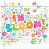 """Постер, картина, фотообои """"Весеннее цветение цветы схематичный записной книжки каракули"""""""
