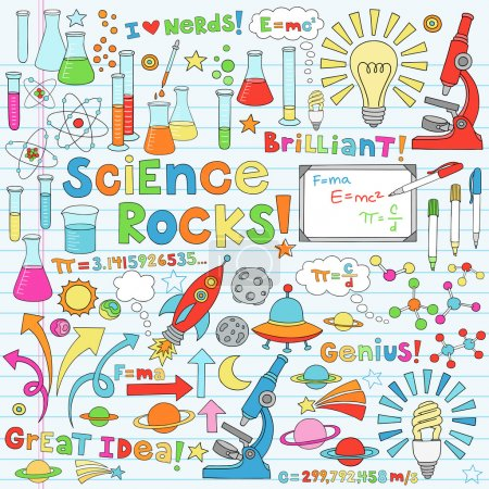 Science School Notebook Doodles Vector Icon Set