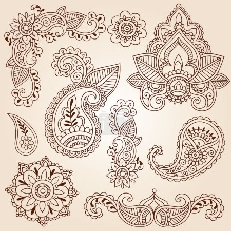 Photo for Hand-Drawn Mandala Flowers, Leaves, and Abstract Paisleys Henna Mehndi Paisley Floral Tattoo Doodles- Vector Illustration Design Elements - Royalty Free Image
