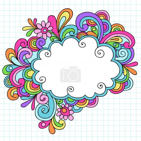 Psychedelic Cloud Speech Bubble Notebook Doodle Vector