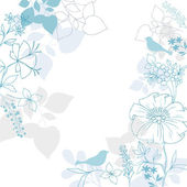 Elegant Floral Background- Bird Silhouettes Flowers and Foliage Vector Illustration Design Elements