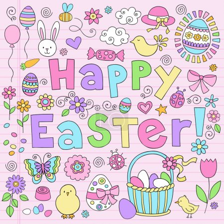 Easter Bunny Spring Notebook Doodles Vector Design