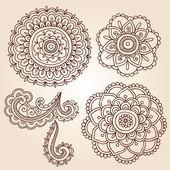 Henna Tattoo Paisley Flower Doodles Vector