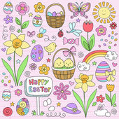 Happy Easter Eggs and Bunny Hand Drawn Notebook Doodles Vector Design Elements Set on Lined Sketchbook Paper Background- Vector Illustration