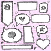 Back to School Sketchy Doodles Frames Borders Vector Set