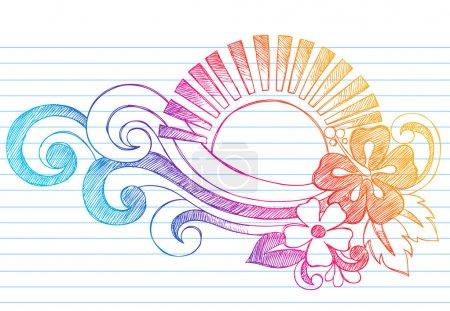 Illustration pour Hibiscus tropical dessiné à la main Fleurs, coucher de soleil et vagues Carnet de notes croquis Doodles Illustration vectorielle sur papier carnet de croquis doublé Fond - image libre de droit