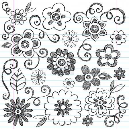 Flowers Sketchy Notebook Doodles Vector Design Elements
