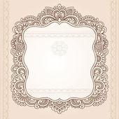 Vintage Henna Paisley Flower Frame Doodle Vector Border