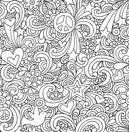 Retro Doodles Seamless Repeat Pattern Vector
