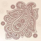 Henna Paisley Flower Doodle Vector Design Element