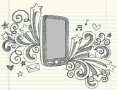 Cell Phone Sketchy Notebook Doodles Vector Illustration